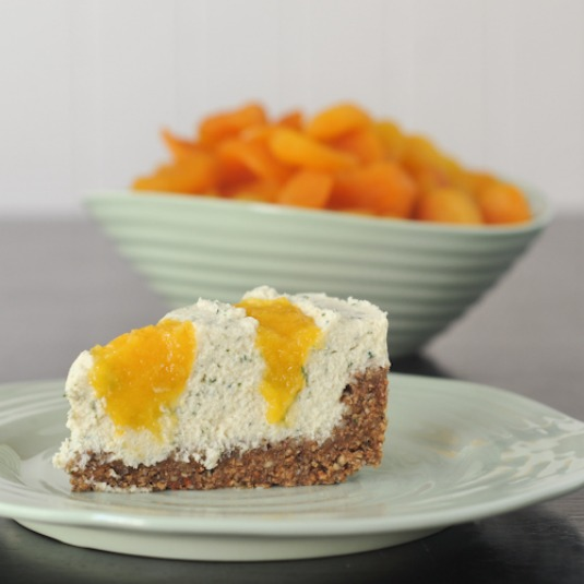 vegan apricot rosemary cheesecake