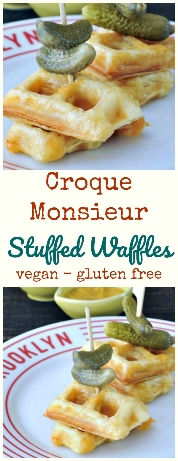 Croque Monsieur Stuffed Waffles @spabettie #vegan #glutenfree #gameday #appetizer #brunch
