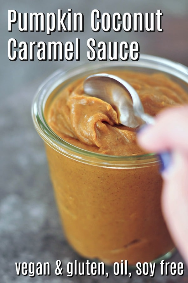 a spoonful of Pumpkin Coconut Caramel Sauce