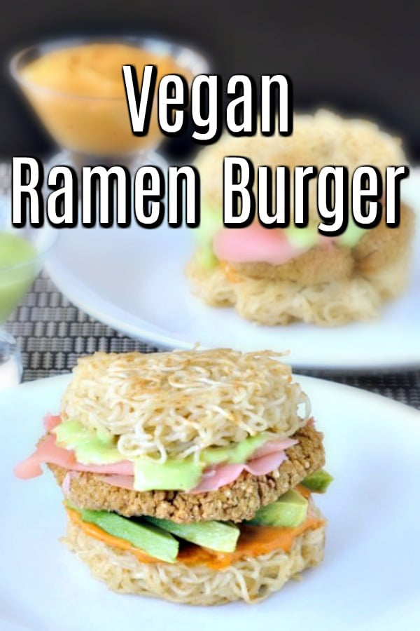 Ramen Burger with chicken patty, avocado, pickled ginger
