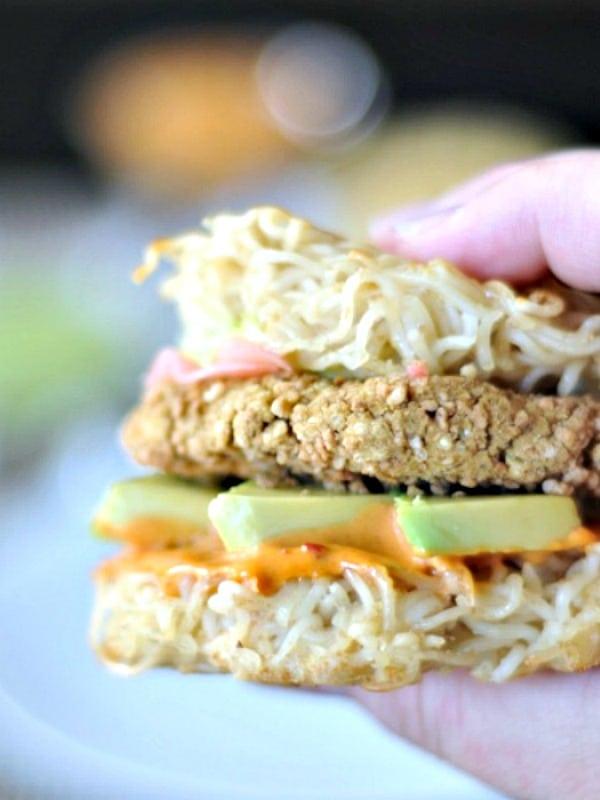 Vegan Ramen Burger held in hand
