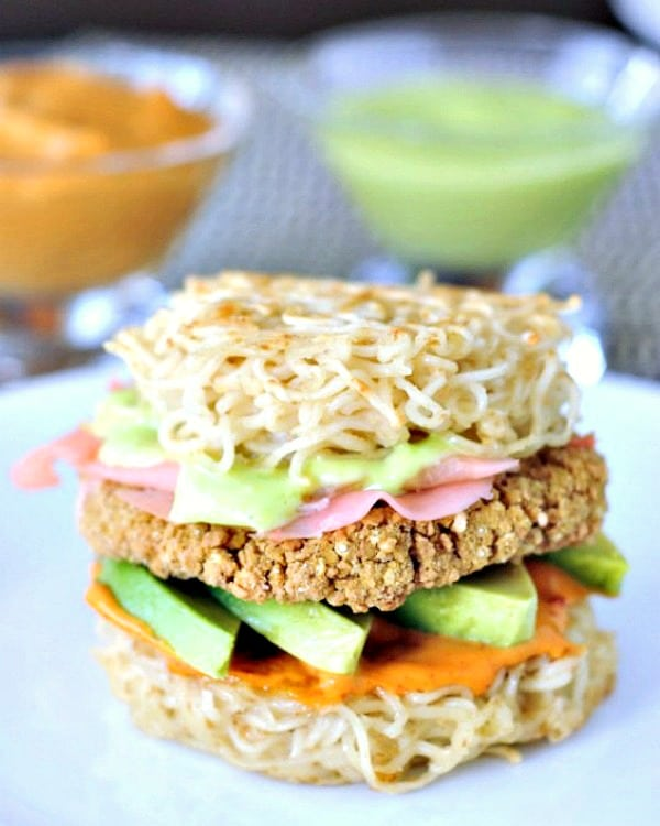 Vegan Ramen Burger on a plate