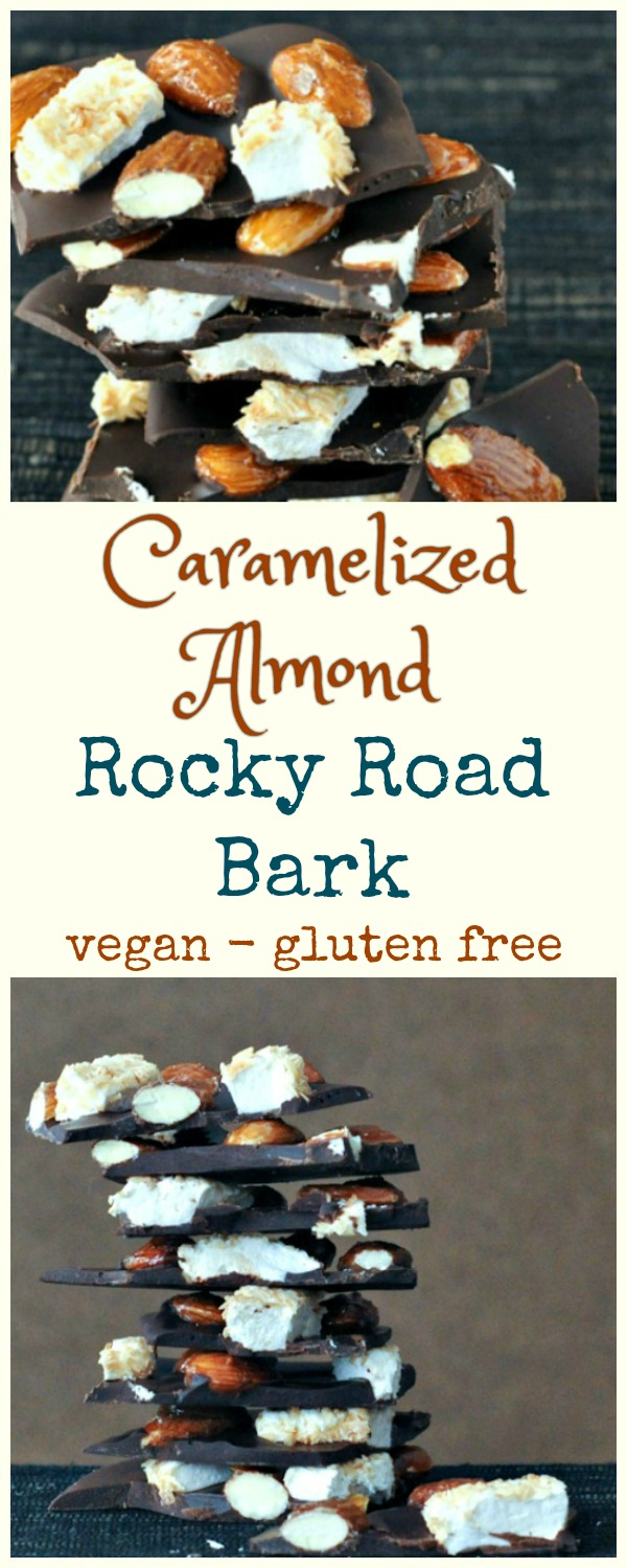 Caramelized Almond Rocky Road Bark pieces in a stack