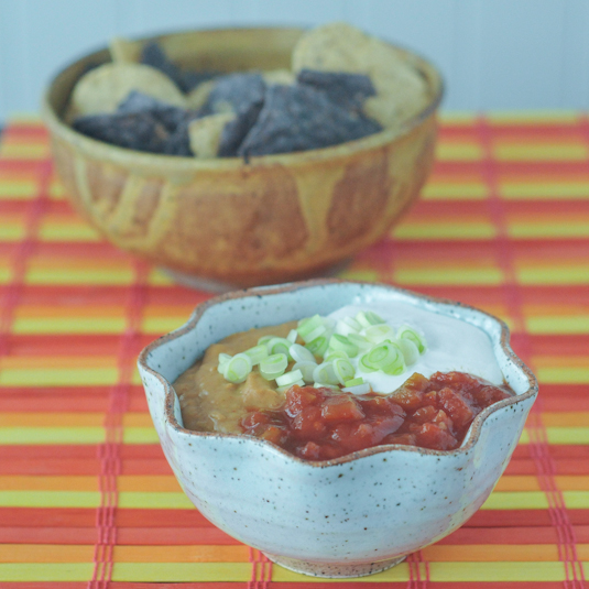 kicked up queso bean dip