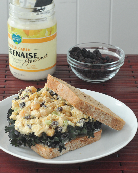 garlic chickpea salad sandwich