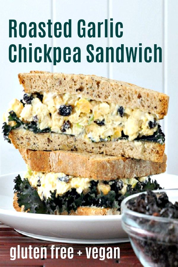 Roasted Garlic Chickpea Salad Sandwich @spabettie #vegan #glutenfree