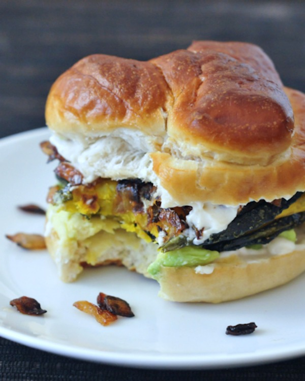 Caramelized Onion Kabocha Sandwich with Garlic and Avocado