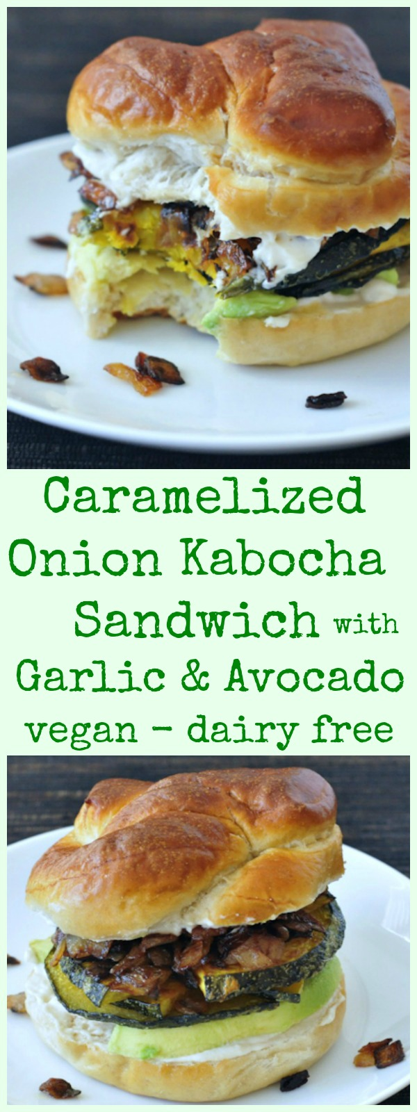 Caramelized Onion Kabocha Sandwich with Garlic and Avocado @spabettie #vegan