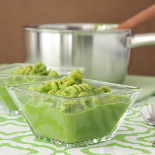 vibrant green mac and cheese