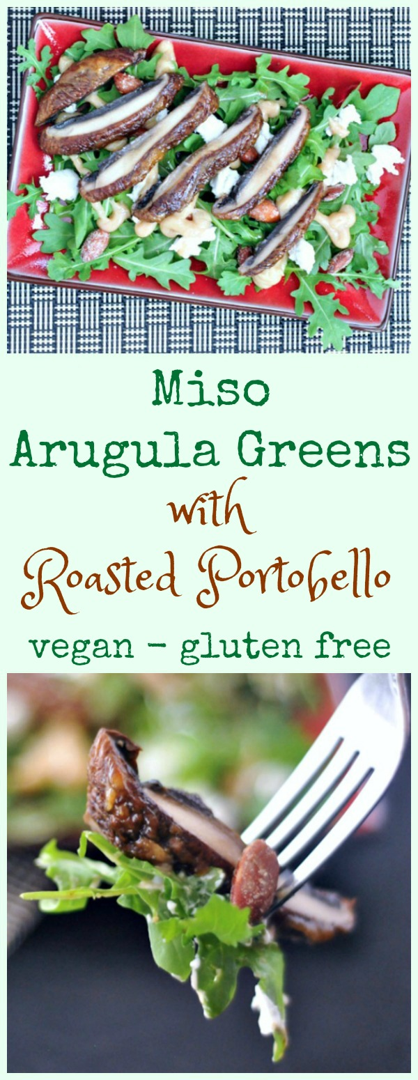 Miso Arugula Greens with Roasted Portobello @spabettie #vegan #glutenfree