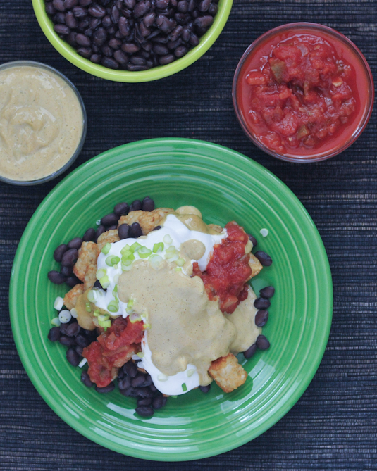 Black Bean Totchos with Garlic Lemon Sauce