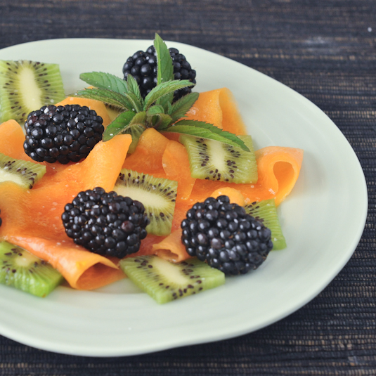 Salted Papaya Ribbons with Lemon Mint Dressing