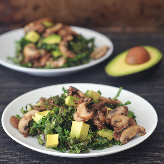 """Kale Salad with Warm """"Bacon"""" Dressing"""