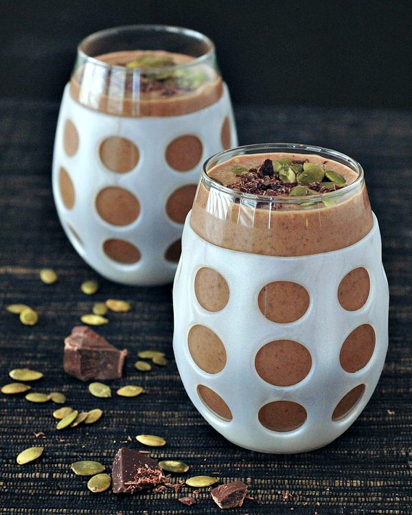 Double Chocolate Smoothie with Salted Pepitas in a glass
