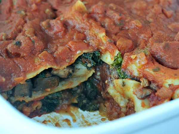 Hearty Portobello Kale Lasagna in baking dish