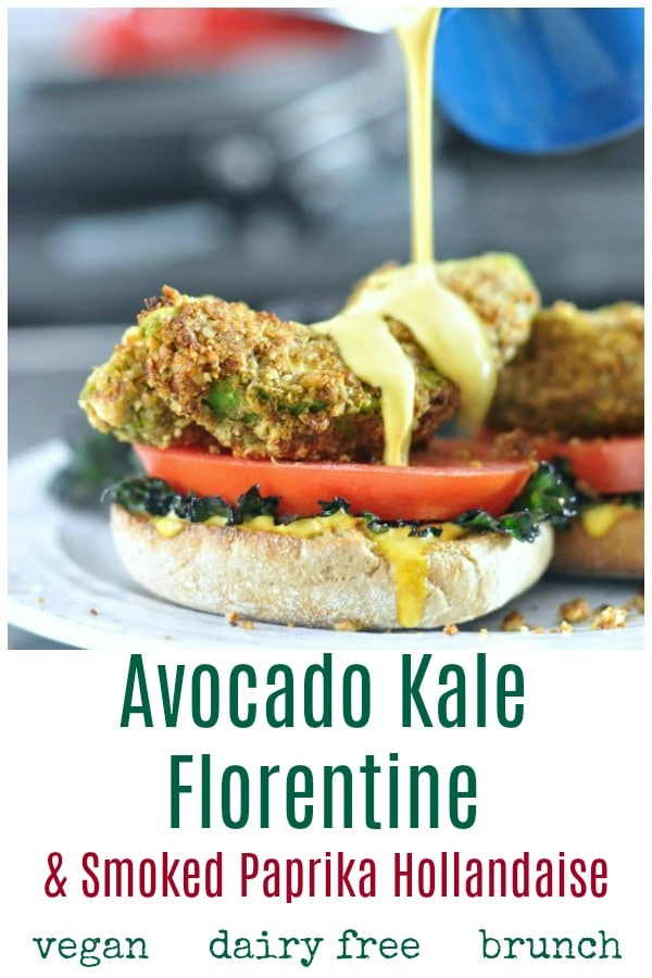 Avocado Kale Florentine - fried avocado slices with tomato and kale on an English muffin half