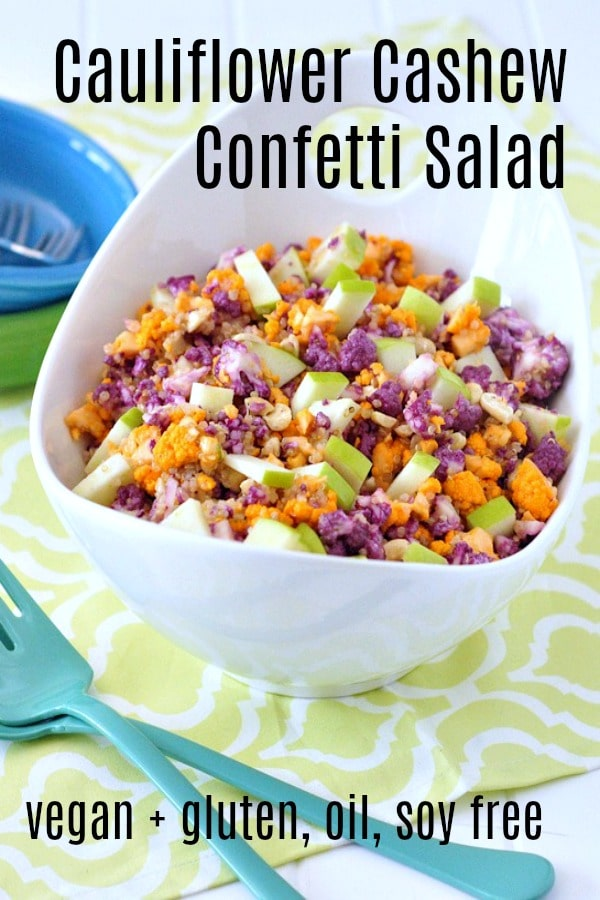 Cauliflower Cashew Confetti Salad @spabettie #vegan #glutenfree #oilfree #soyfree #side #salad #recipe