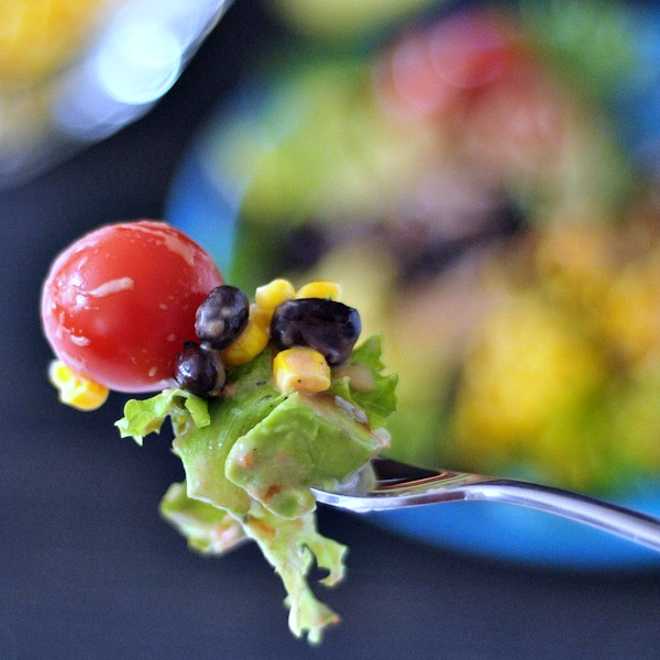 Santa Fe Taco Salad with Cool Salsa Ranch @spabettie #vegan #oilfree #glutenfree