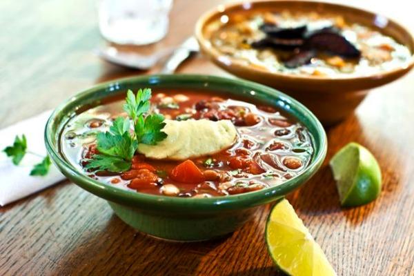 Mexican Bean Soup with Chipotle Avocado Cream