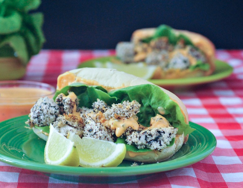 Soyster Po' Boy with Spicy Garlic Sauce - vegan - @spabettie