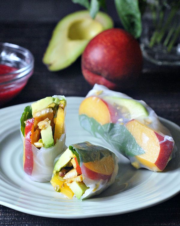 Sweet and Savory Summer Rolls with Raspberry Ginger Sauce @spabettie