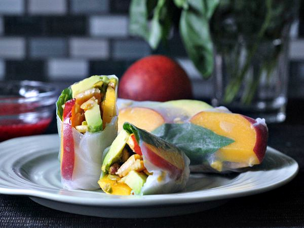 Savory Sweet Summer Rolls with Raspberry Ginger Sauce @spabettie