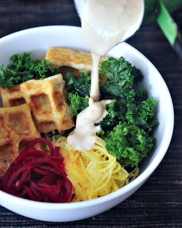 Vibrant Spaghetti Squash Bowl with Smoky Waffled Tofu @spabettie