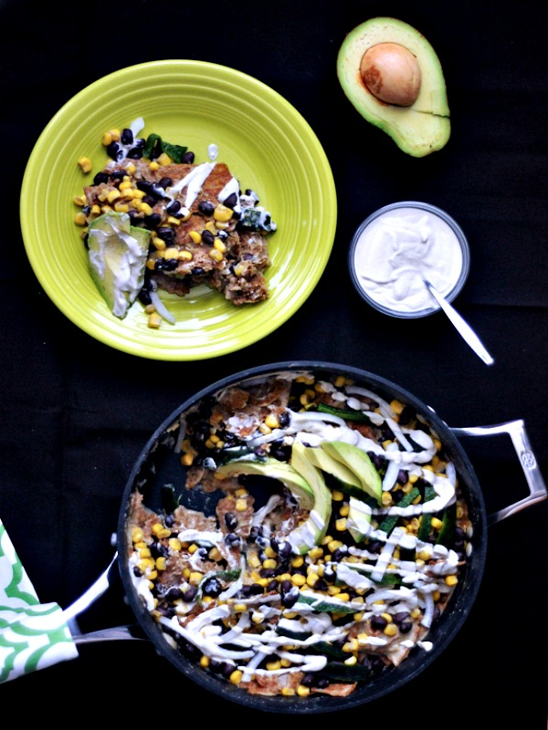 Fire Roasted Poblano Chilaquiles with Spicy Cumin Cream @spabettie