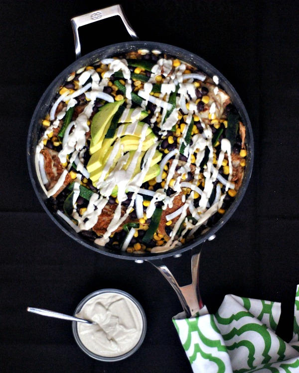 Vegan Breakfast Recipe Collection @spabettie Fire Roasted Poblano Chilaquiles with Spicy Cumin Cream