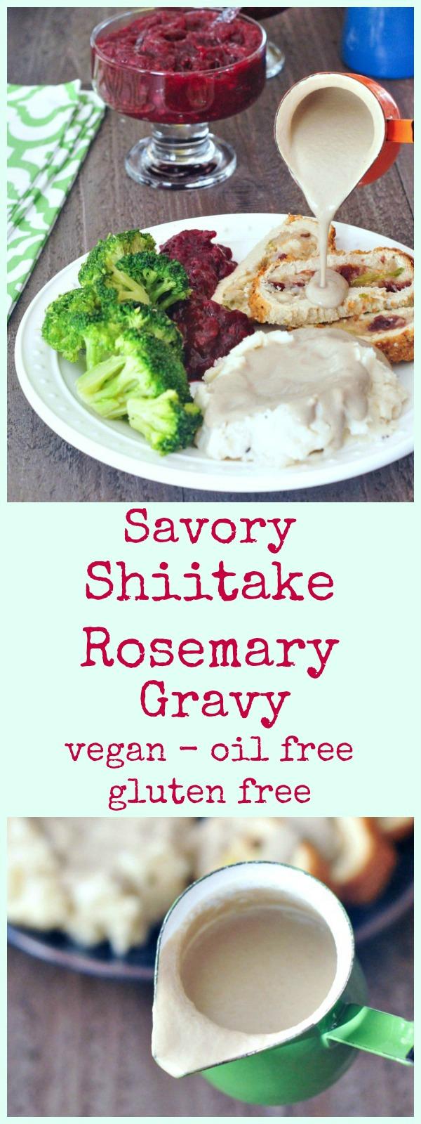 Savory Shiitake Rosemary Gravy @spabettie #vegan #oilfree #glutenfree