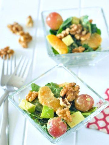Winter Waldorf Salad with Walnut Mustard Dressing @spabettie