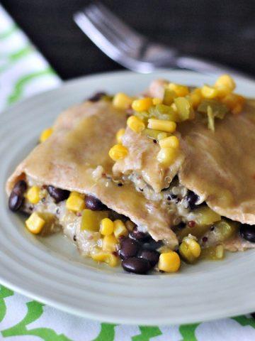 Cashew Cream Quinoa Black Bean Enchiladas @spabettie