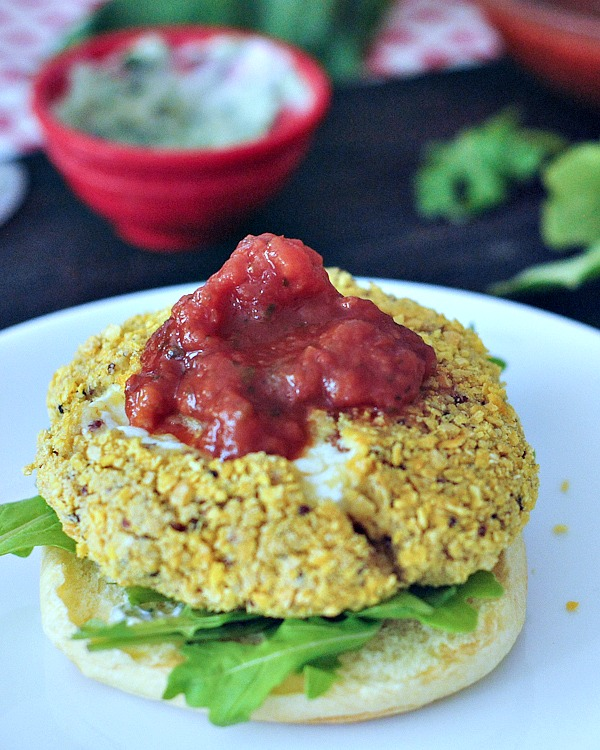 Mozzarella Stuffed Chick-quin Burgers with Marinara and Basil Aioli @spabettie