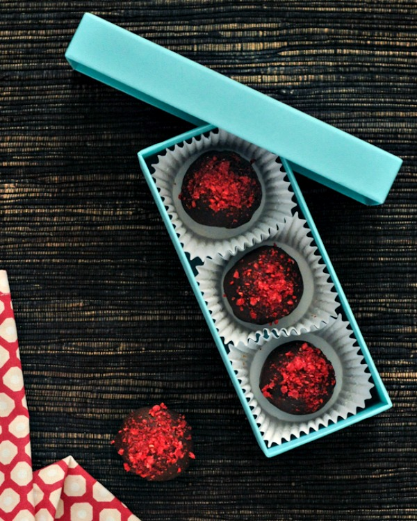 Raspberry Chocolate Brownie Truffles in a gift box