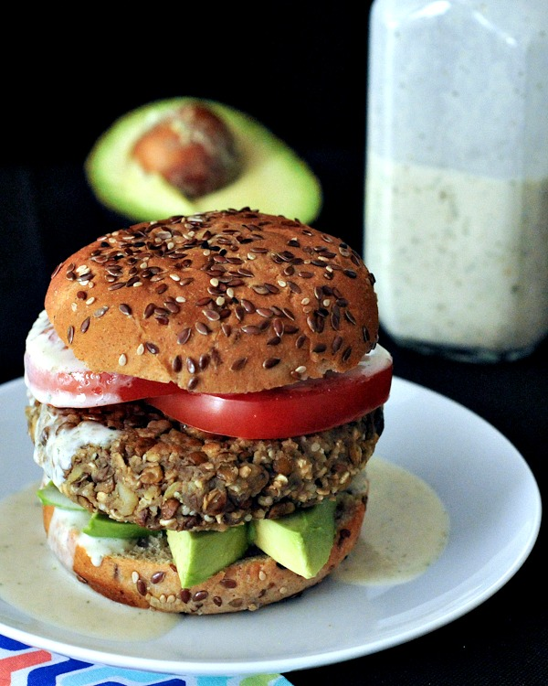 Red Lentil Sweet Potato Hemp Burgers with Ginger Basil Sauce @spabettie