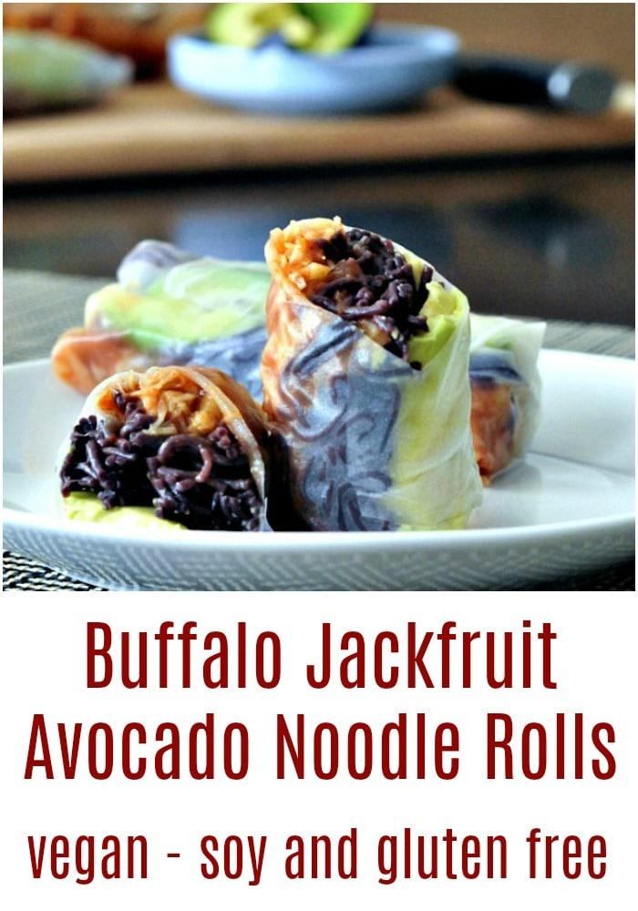 Buffalo Jack Avocado Noodle Rolls @spabettie #vegan #dairyfree #soyfree #glutenfree #jackfruit #spicy