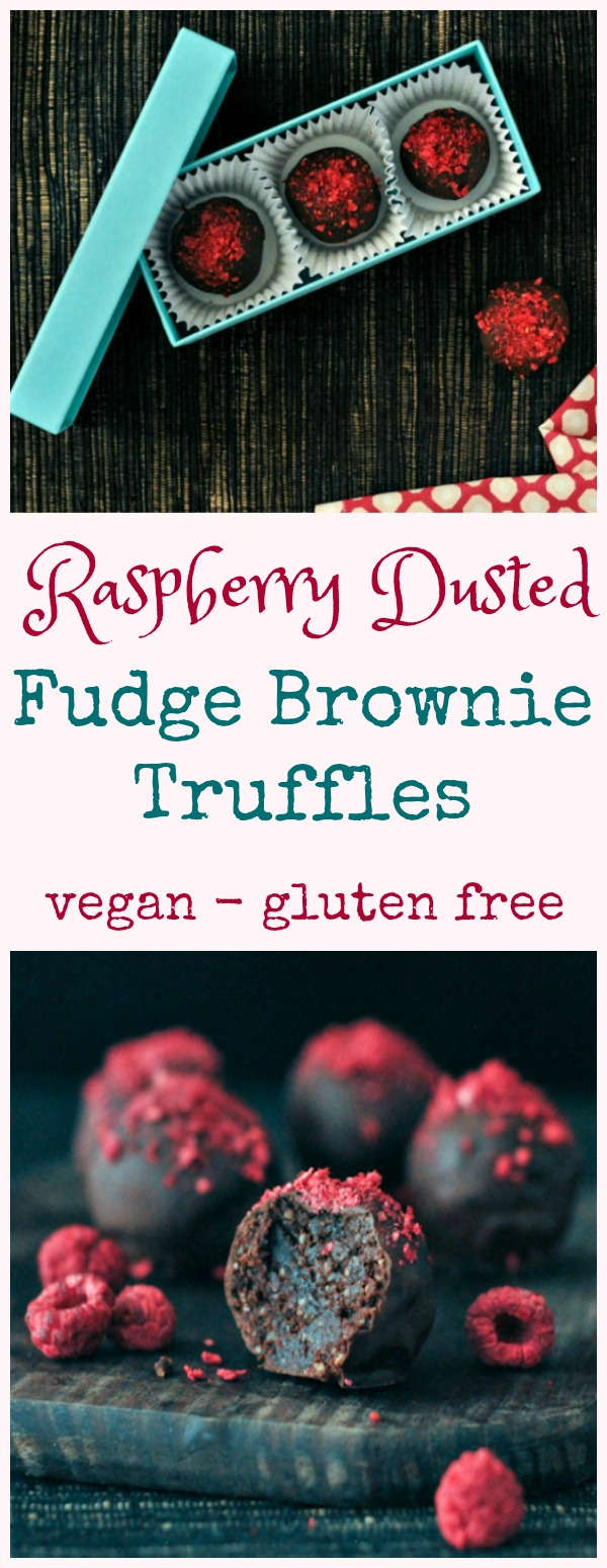Raspberry Chocolate Brownie Truffles in a box, on a plate