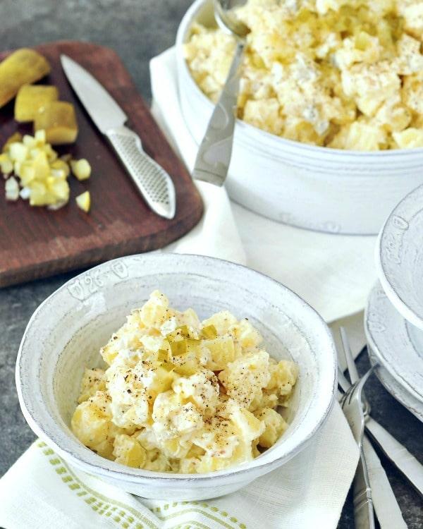 Classic Vegan Pickle Potato Salad @spabettie #vegan #glutenfree #oilfree #soyfree #BBQ #dairyfree