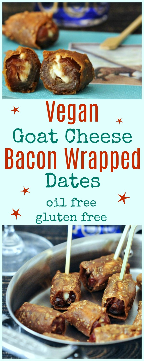 Vegan Goat Cheese Bacon Wrapped Dates on a serving dish with toothpicks and napkins
