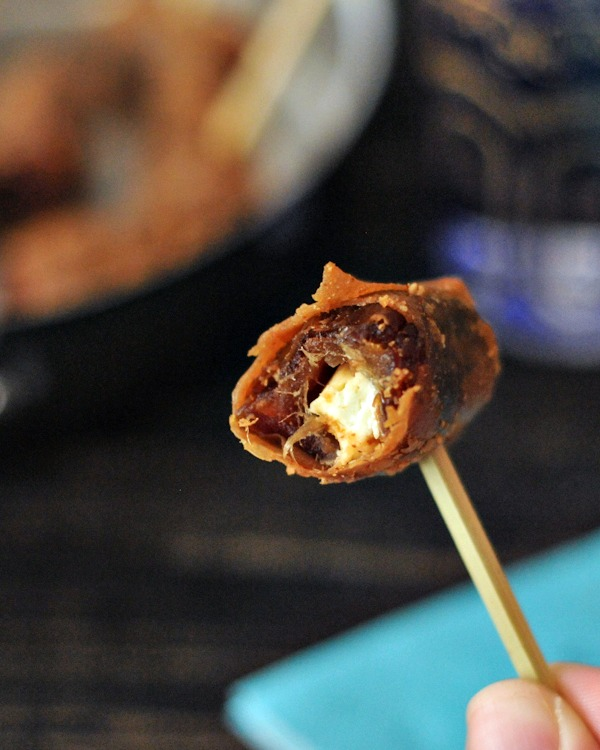 Vegan Goat Cheese Bacon Wrapped Dates @spabettie