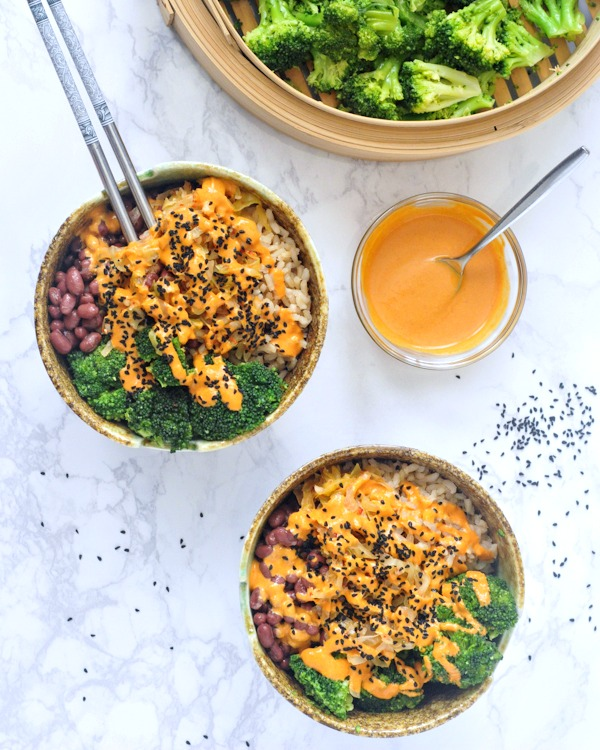 Kimchi Rice in Bowls with Red Curry Almond Sauce to drizzle