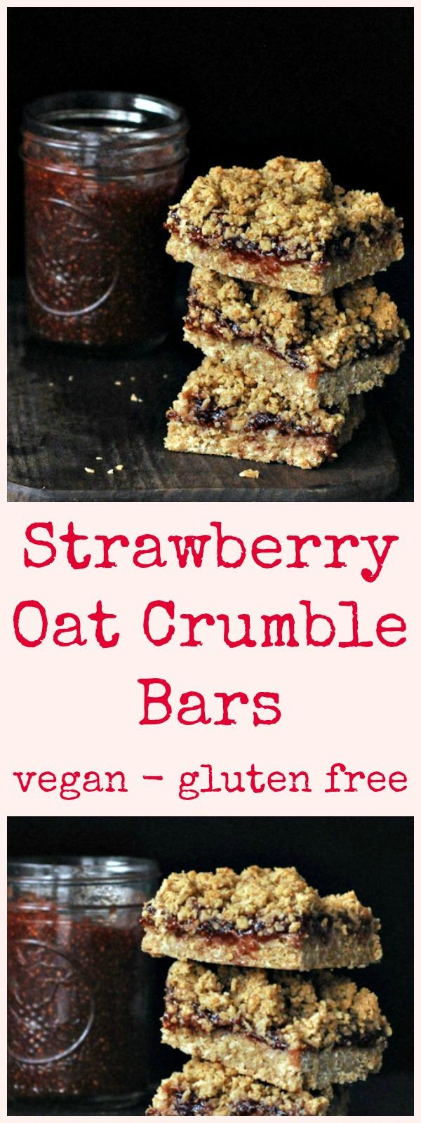 Strawberry Oat Crumble Bars @spabettie #vegan #glutenfree