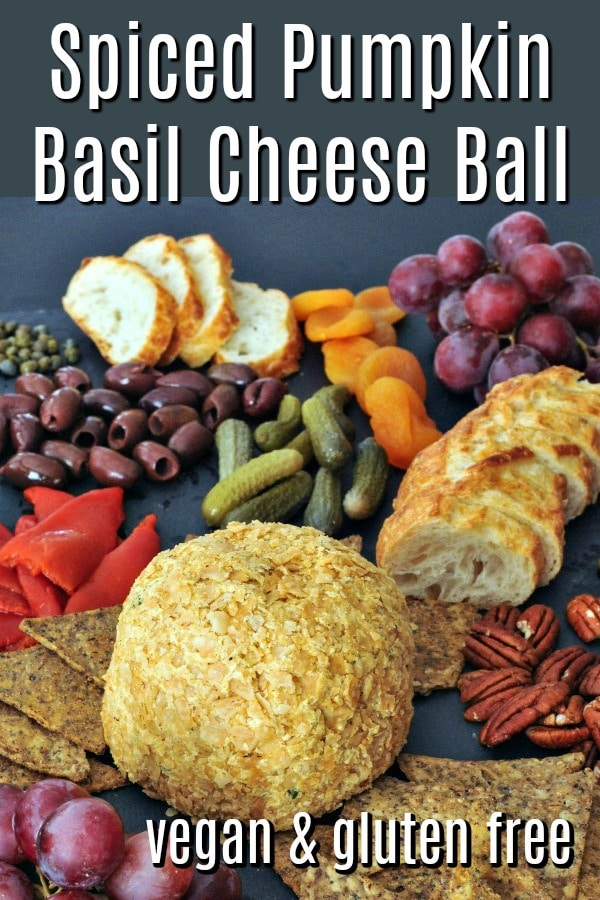 Spiced Pumpkin Basil Cheese Ball @spabettie #vegan #glutenfree #cheese #party #appetizer