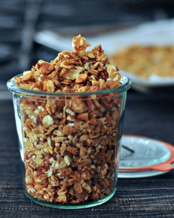 ginger vanilla granola in a glass jar