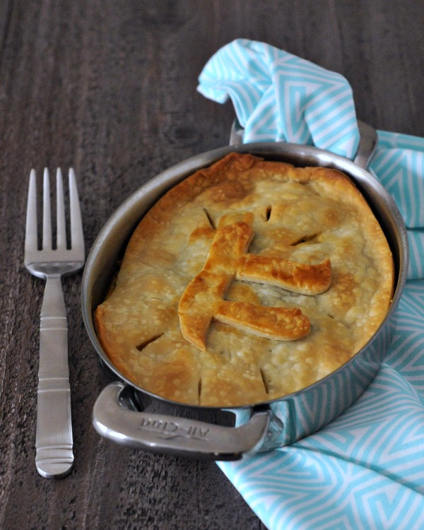 Jackfruit Chile Relleno Pot Pie with a Pi symbol in the crust