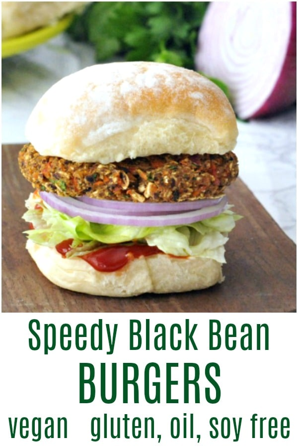 Speedy Black Bean Burgers @spabettie #vegan #glutenfree #oilfree #soyfree #burger