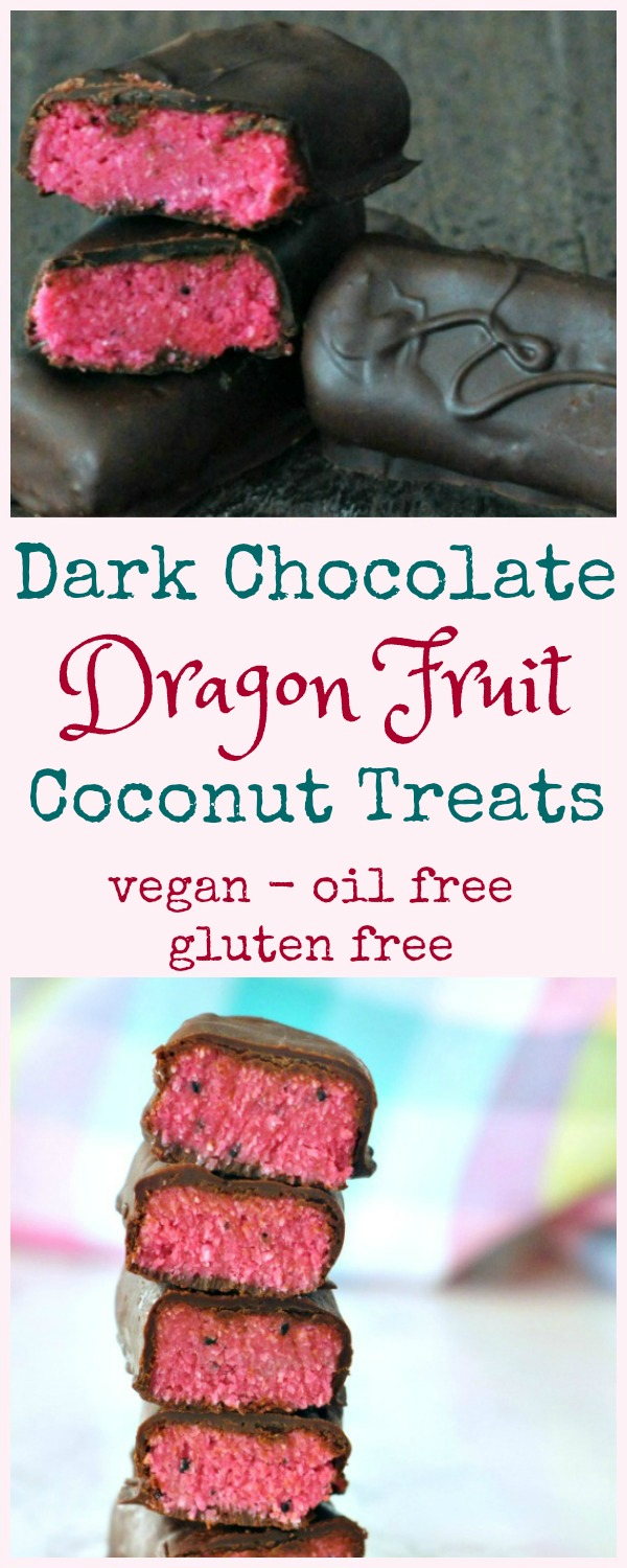Dark Chocolate Dragon Fruit Coconut Treats stacked in a pile