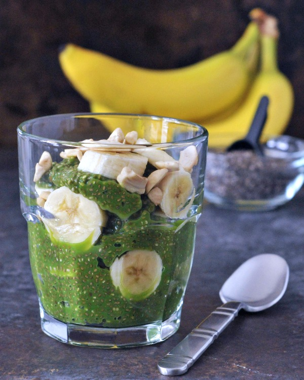 Pineapple Chia Pudding in a glass with banana slices