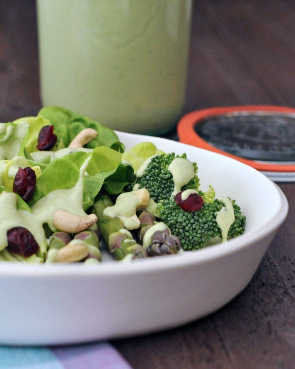 Hearty Nourishing Greens Salad: butter lettuce, avocado, asparagus, broccoli