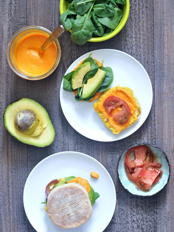 Sunrise Stack Veggie Breakfast Sandwich open faced to show ingredients